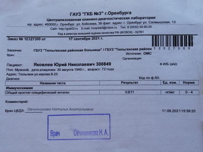 Анализ ПСА общий на 17.09.2021